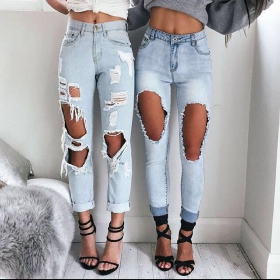Distressed Ripped Jeans Size 10-12 AU