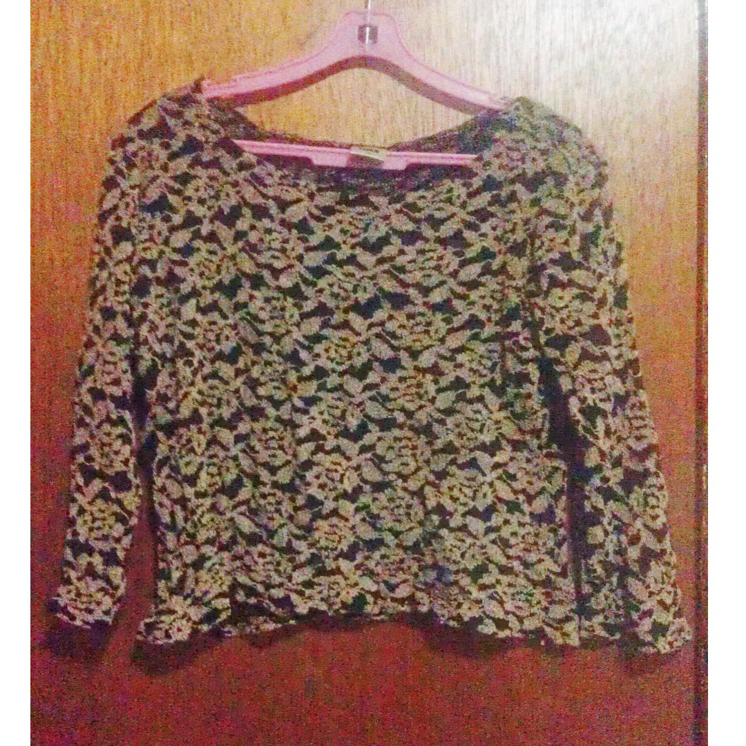 Floral Patterned Light Long Sleeve Jumper Top