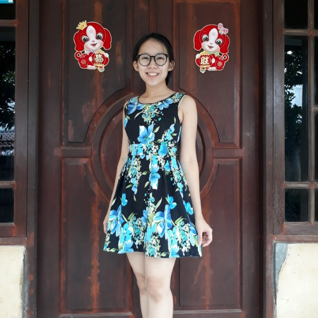 Flower Black Blue Midi Dress