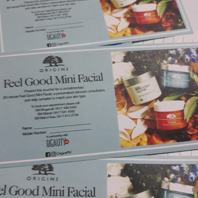 For FREE!!! Worth of PHP250 and Up items!!! Complimentary Voucher - Mini Facial (Origins Brand)