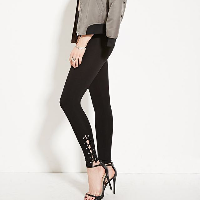 Forever 21 F21 Ankle Lace Up Pants Leggings