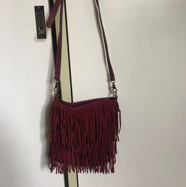 Fringed red bag