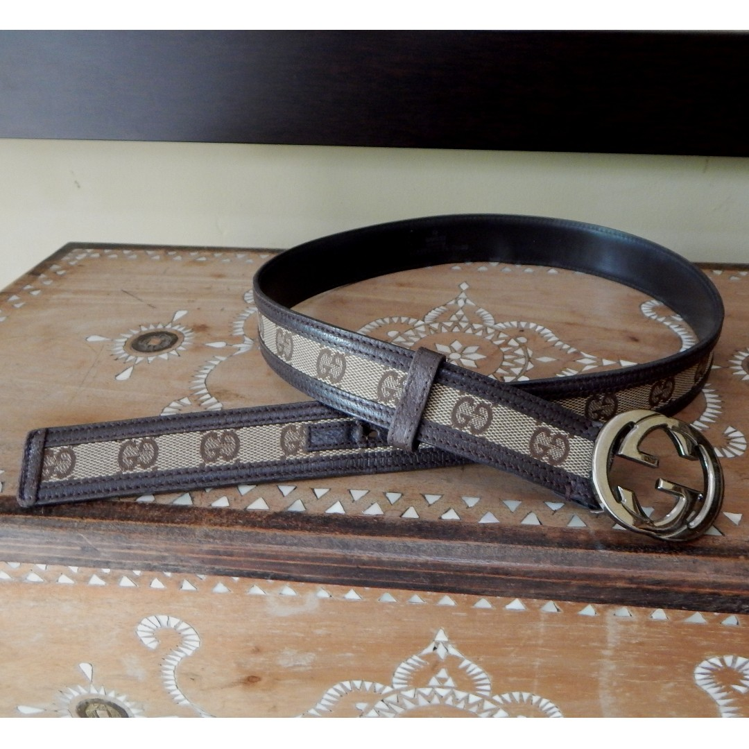 GUCCI canvas-leather GG buckle belt