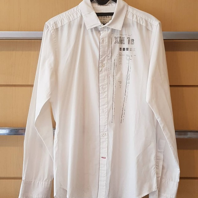 GUESS Men's White Shirt with print detail
