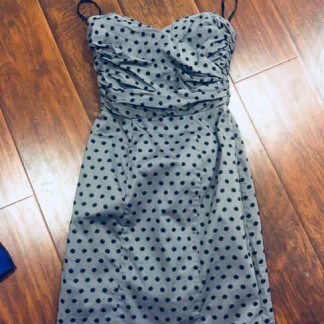 H&M polka dot sweetheart dress size 4