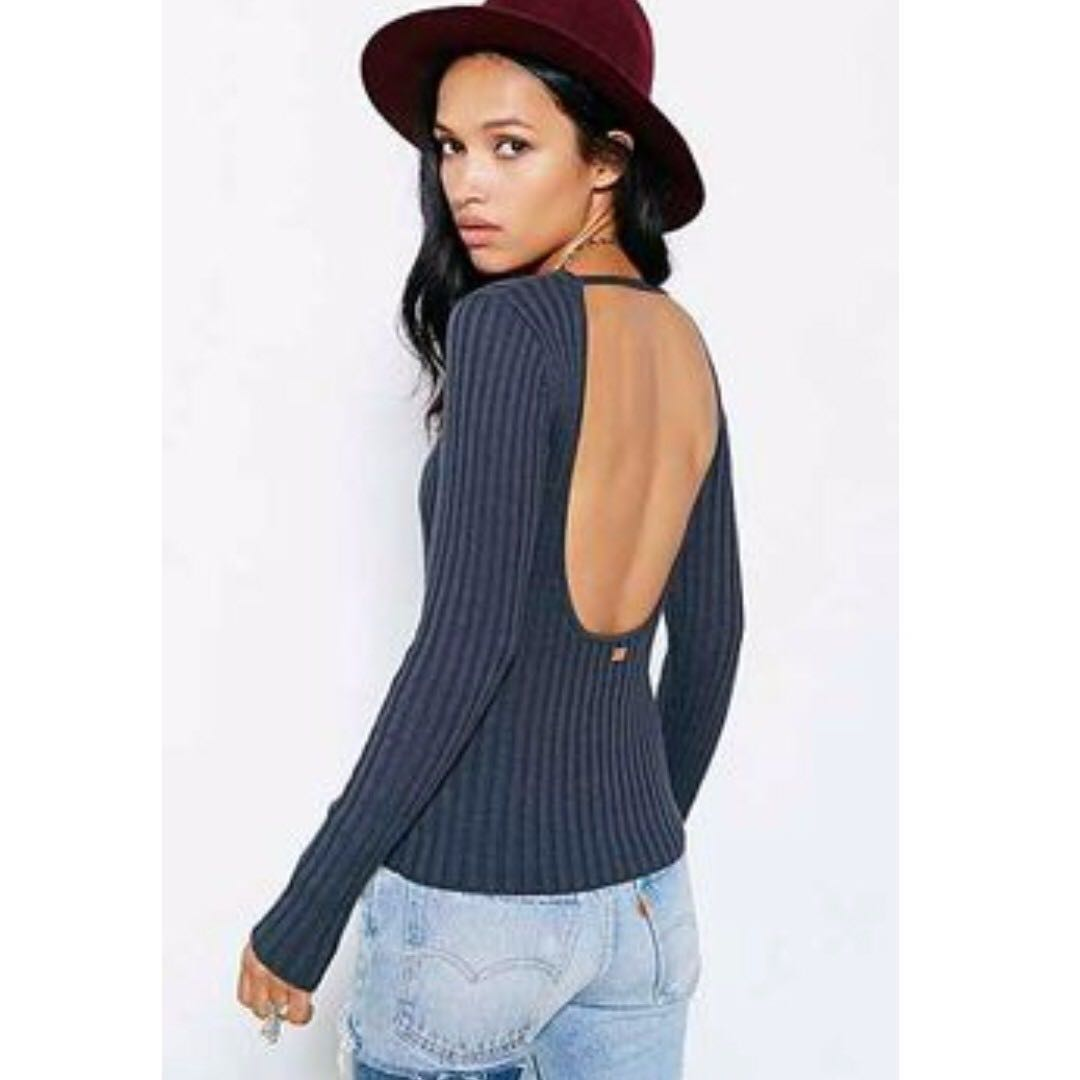 KNITZ BY FOR LOVE & LEMONS Back To Basics Top in Dark Grey