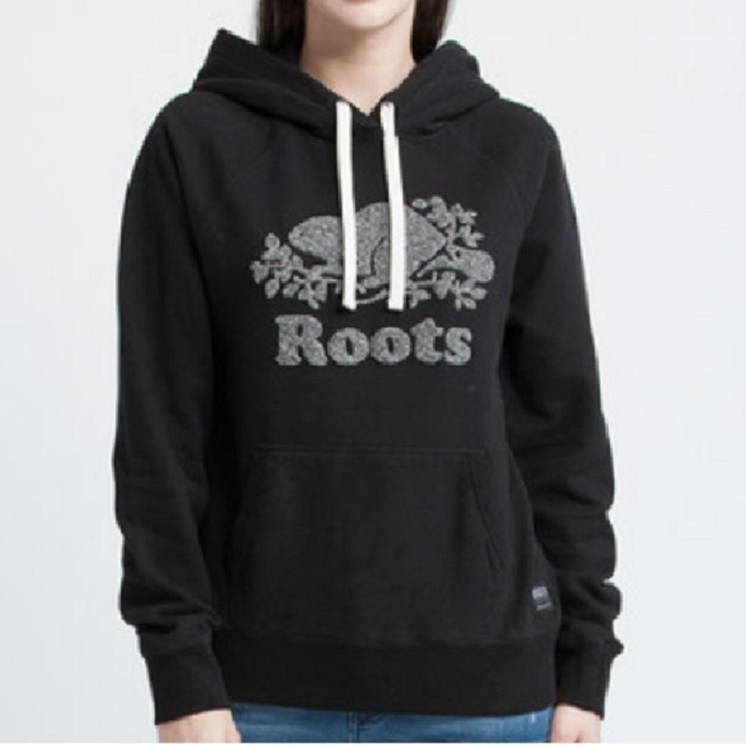 【LA 潮流】特價 ,真品 ! 加拿大 ROOTS 新款海狸 楓葉植绒 刷毛 男女 插肩運動休閒連帽上衣--黑 !
