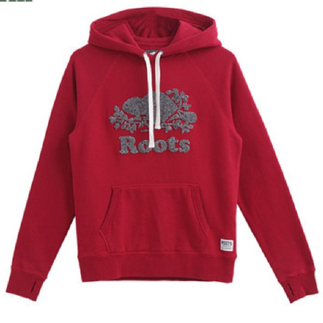 【LA 潮流】特價 ,真品 ! 加拿大 ROOTS 新款海狸 楓葉植绒 刷毛 男女 插肩運動休閒連帽上衣--紅 !