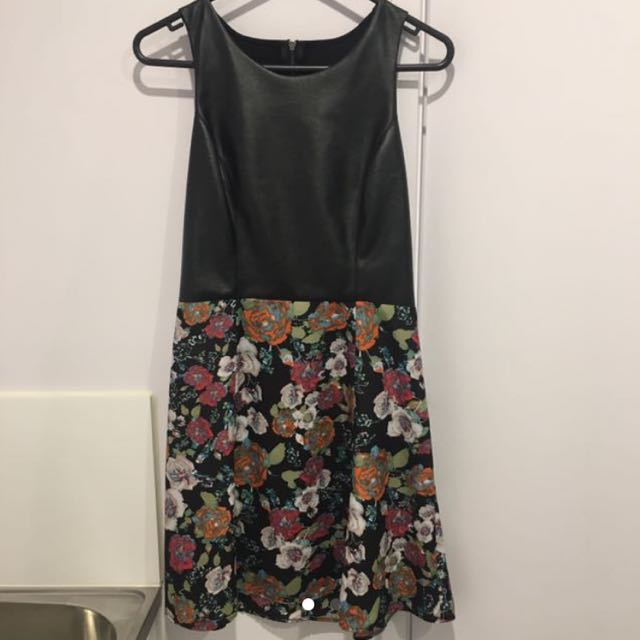 Leather/Floral Dress - XS