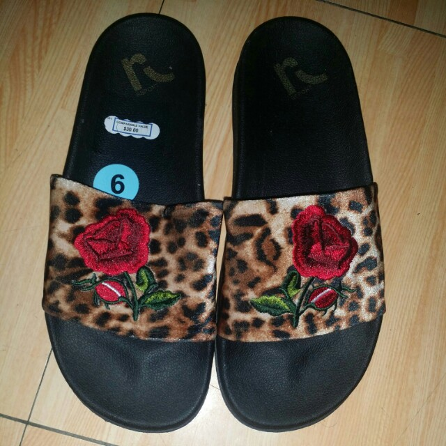 Leopard with Embroidered rose slip ons