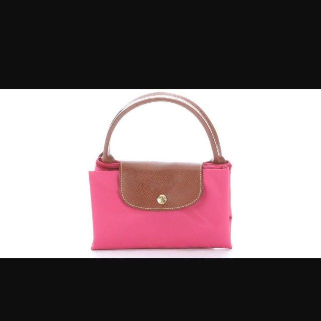Longchamp medium le pliage nylon tote pink bonbon