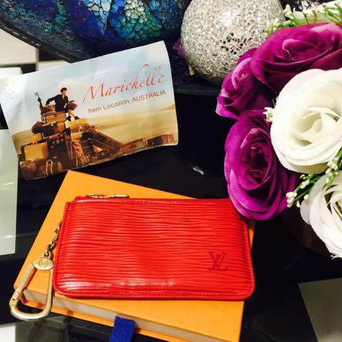 Louis Vuitton Red Epi Leather Key Cles Chain Case Pouch