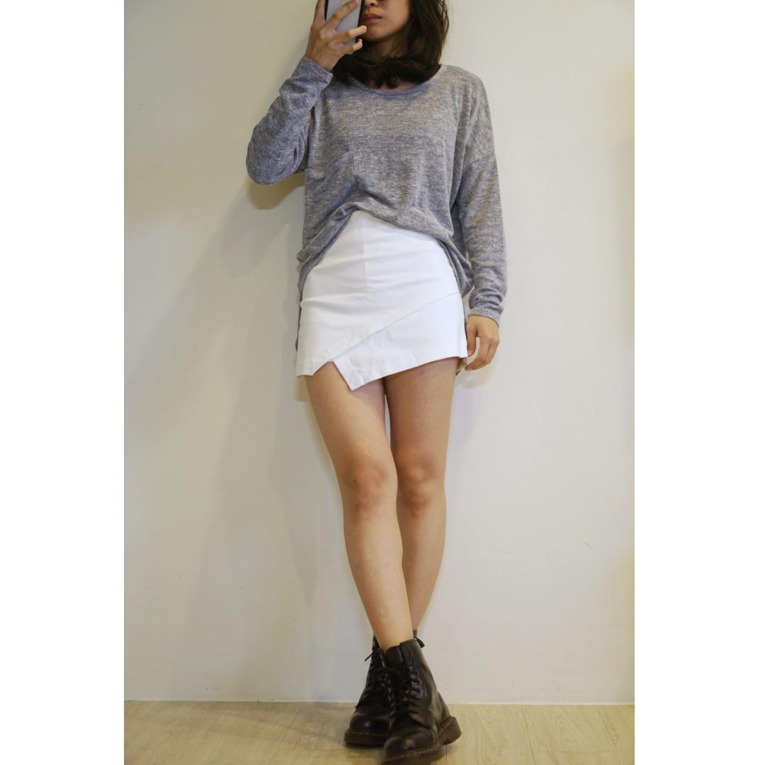 彈性褲裙(白色-M)