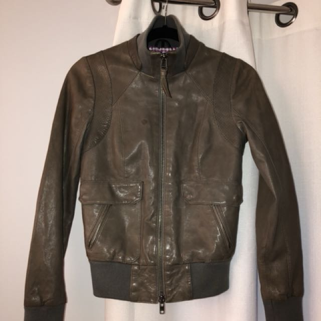 Mackage grey/khaki aritzia leather bomber size xsmall