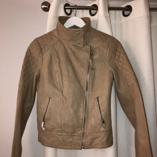 Mackage leather coat beige size xsmall