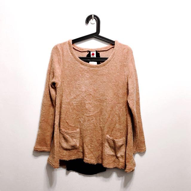 韓珊瑚粉色拼接雪紡毛衣(Mercci22風格款)