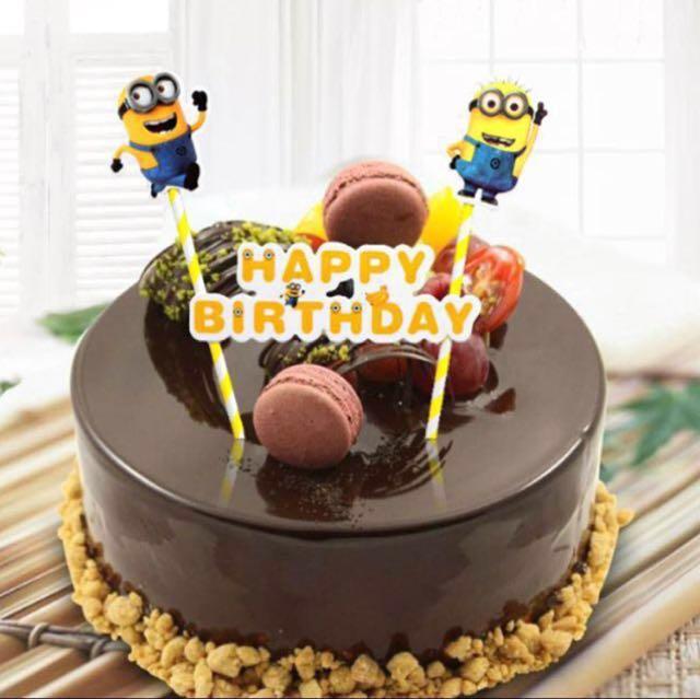 Minions Happy Birthday Bunting Cake Topper Decoration Cupcake