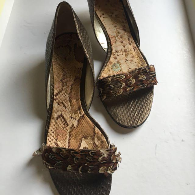 Nine West Brown kitten heel ladies shoes