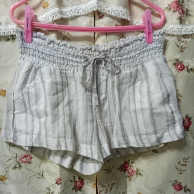 Old navy 金蔥銀灰色睡褲短褲