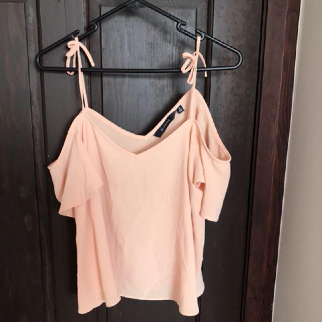 Peach cold shoulder top s10