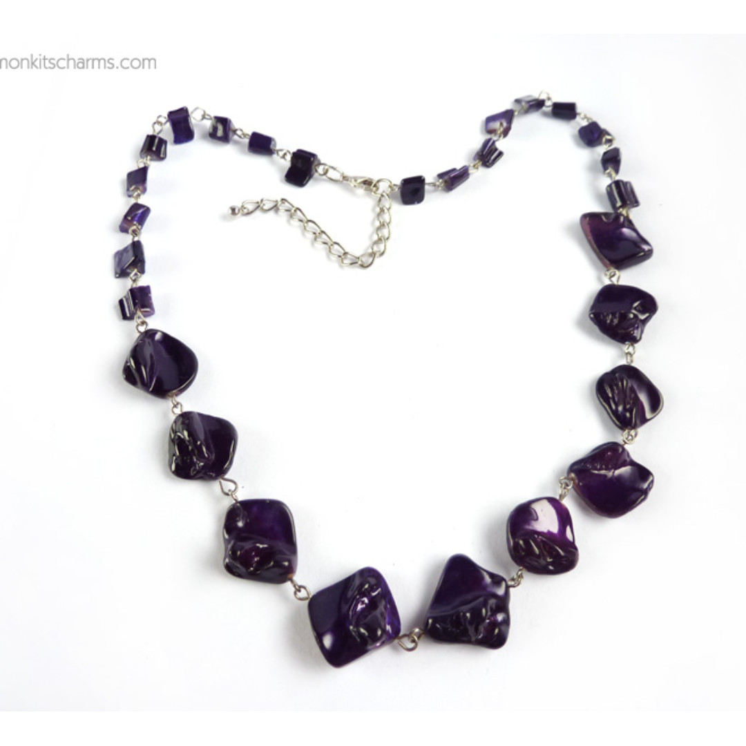 Purple Blister Shell Beaded Necklace, nk1079-c