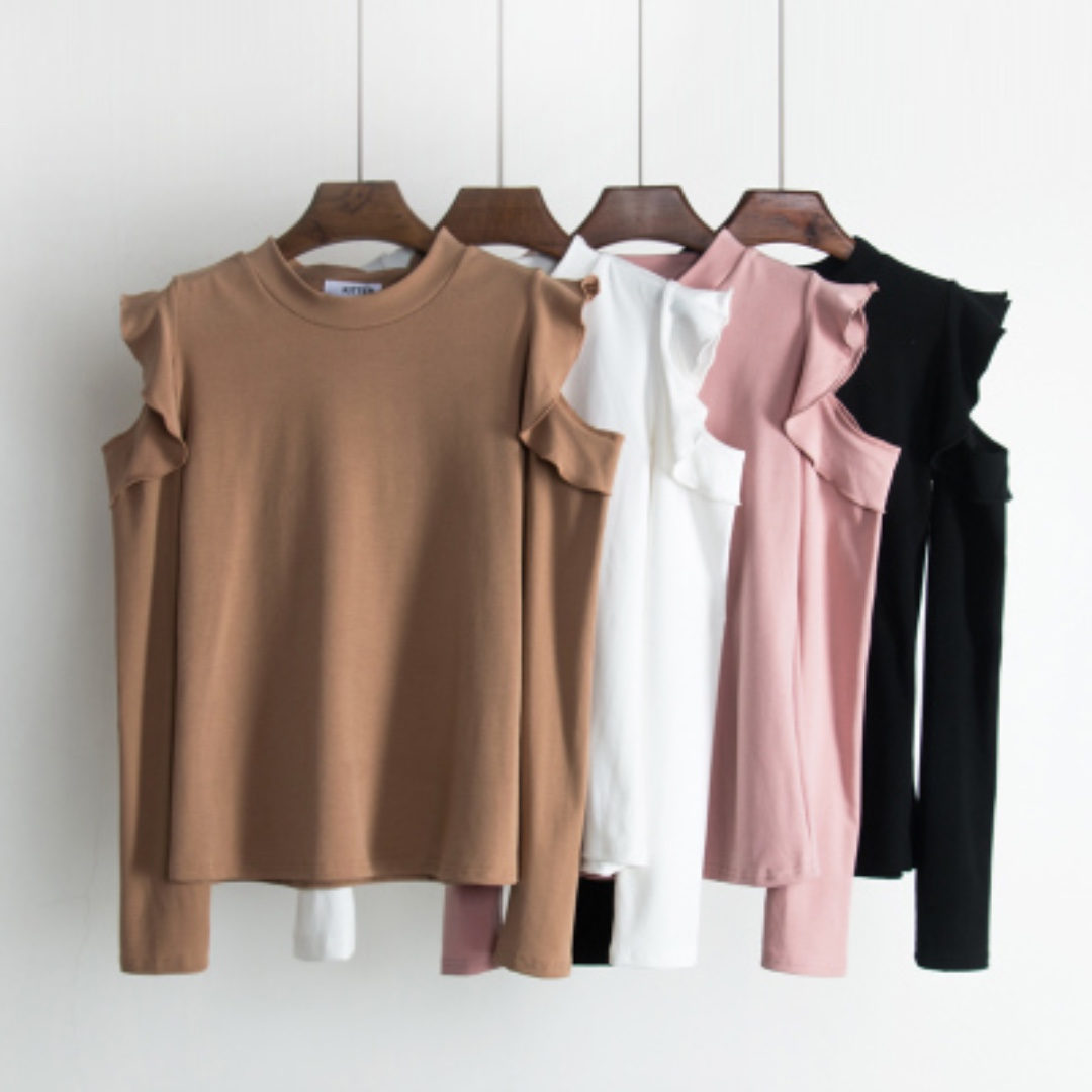 READY STOCK - Cold Shoulder Ruffled Long Sleeve Top