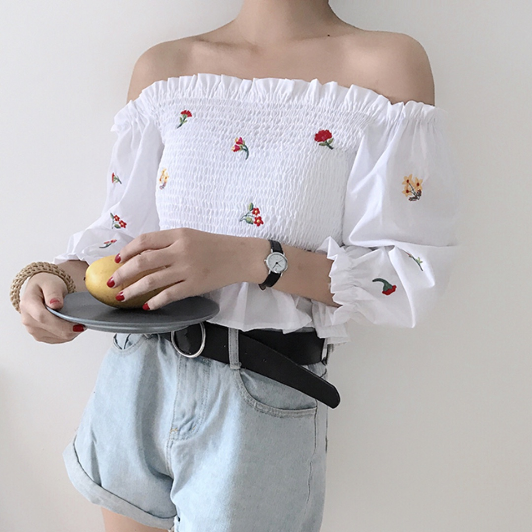 READY STOCK - Floral Embroidery Off-Shoulder Top