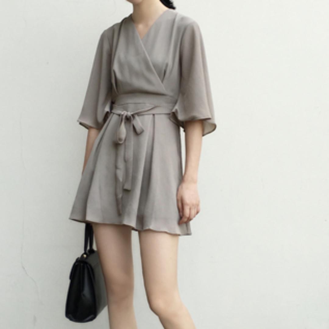 READY STOCK - V-neck & Self-tied Dress