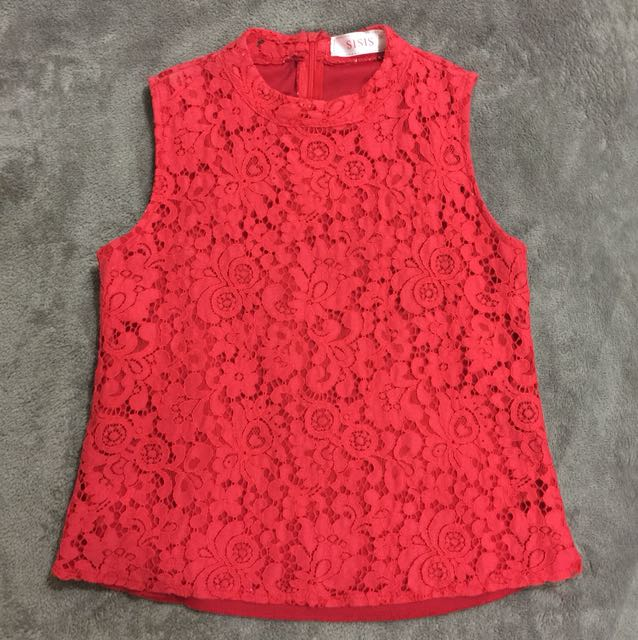 Red Lacey Top