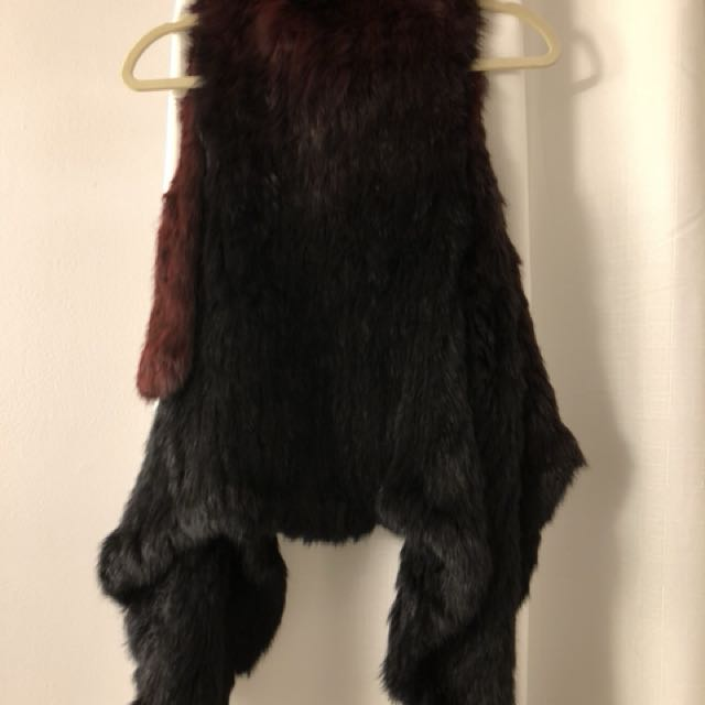 Rudsak rabbit fur vest  2 tone with burgandy black