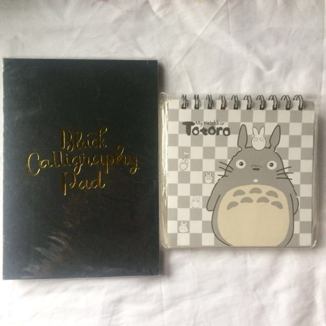 Stationery Bundle: Black Calligraphy pad + Totoro (unruled pad)
