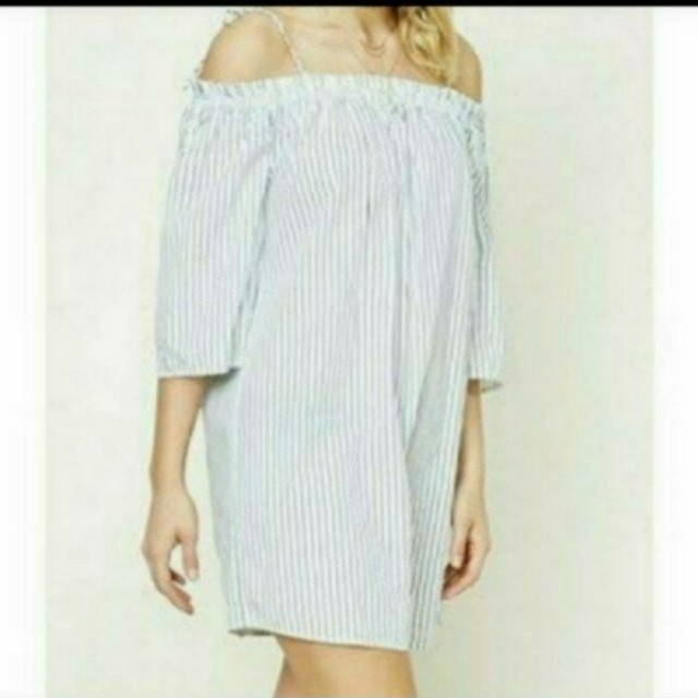 Stradivarius stripe off shoulder dress