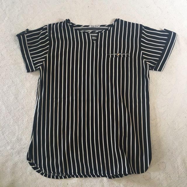Stripe Top Black