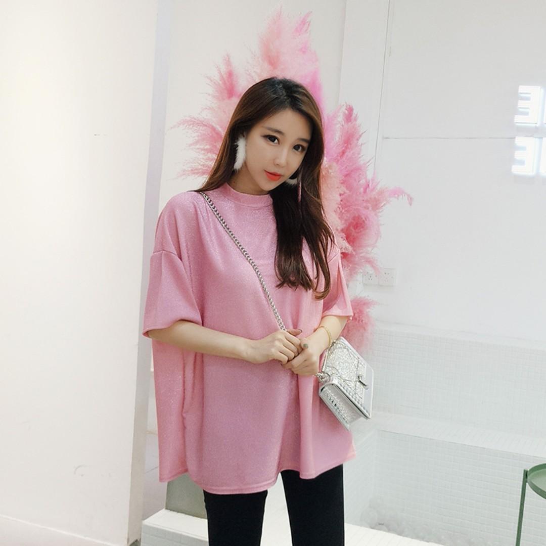 軟妹粉色亮絲短袖T恤 簡約寬鬆圓領T 顯瘦百搭粉色上衣 春裝2018