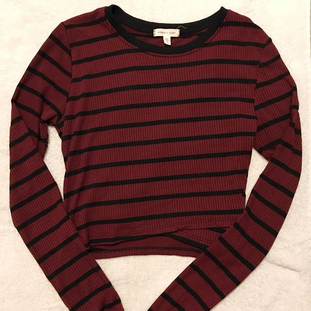 Urban Outfitters Cropped Striped Longsleeve