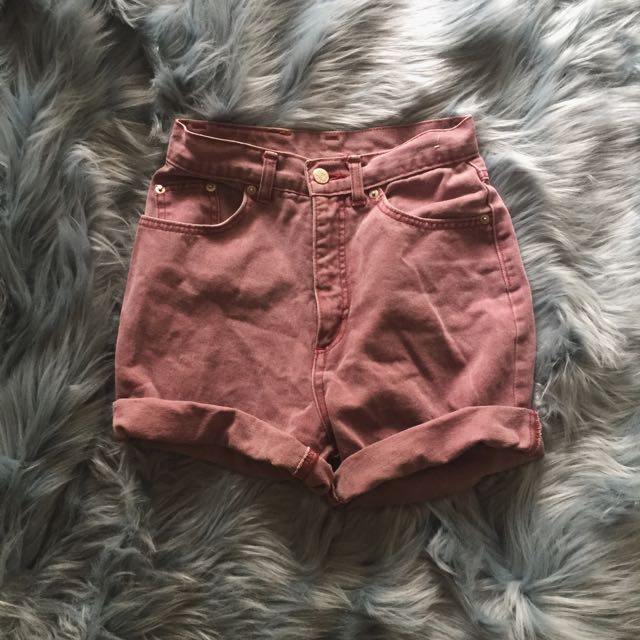 Vintage Oversized Lee Cooper Maroon Denim Shorts