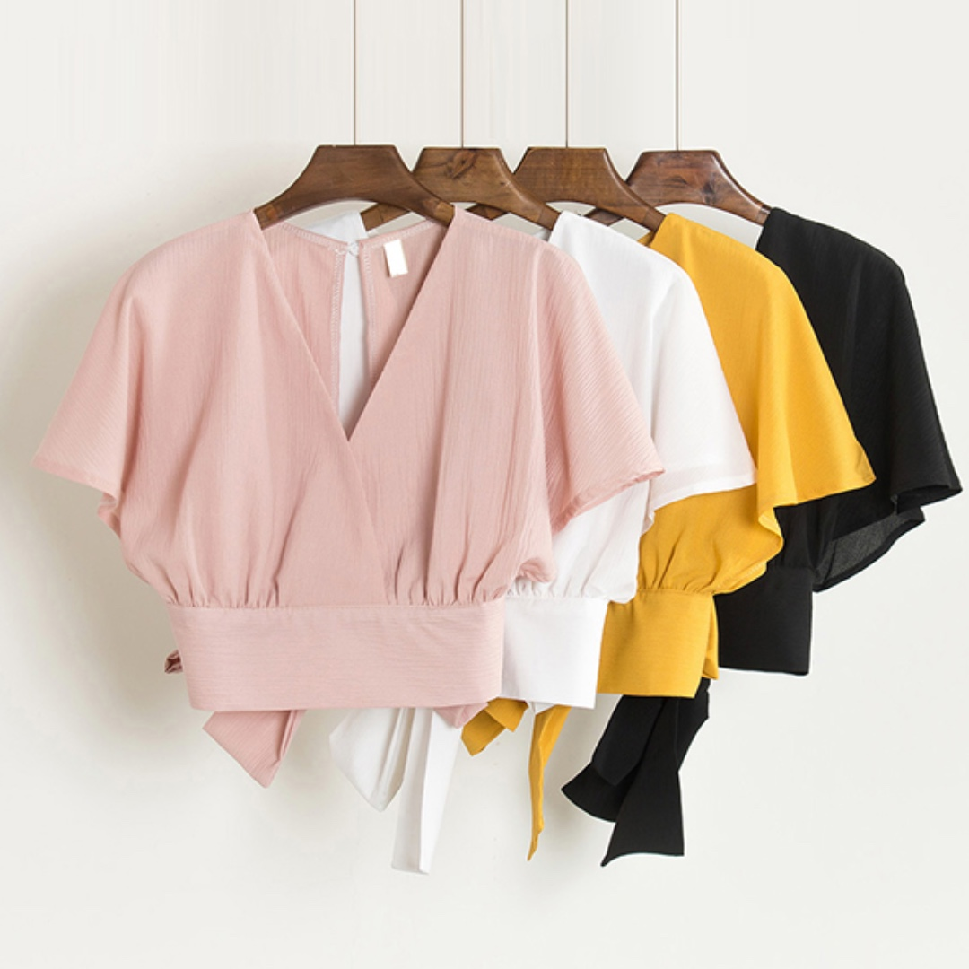 READY STOCK - V-neck Wrapping Top