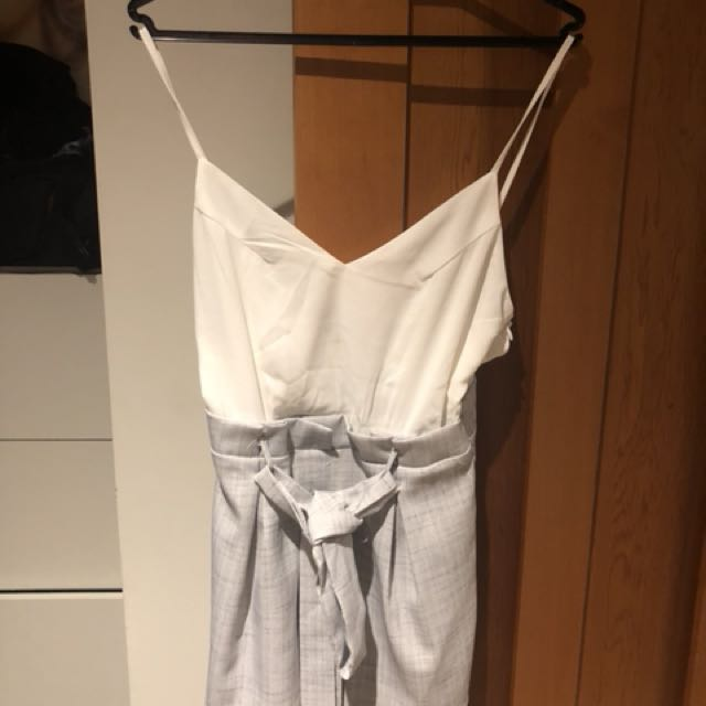 White and grey short playsuit