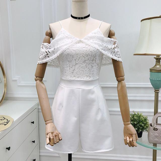 White Off Shoulder Lace Romper