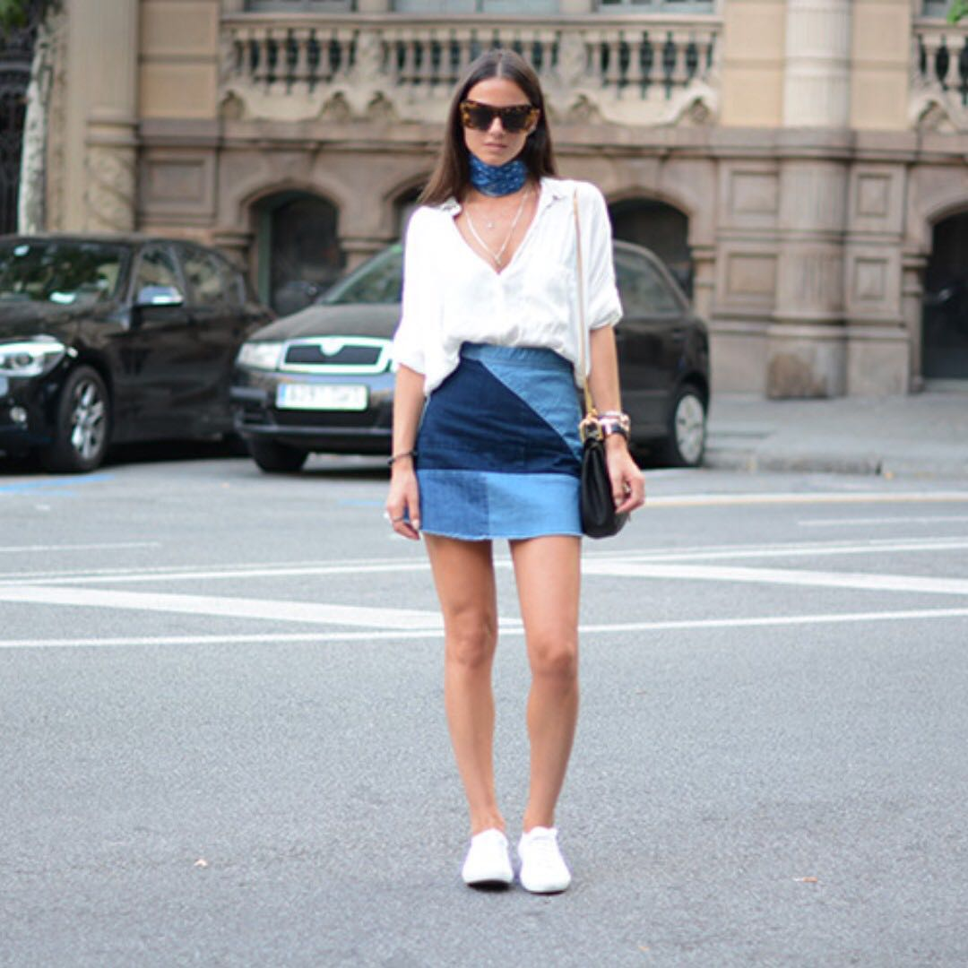 Zara denim Patchwork Skirt