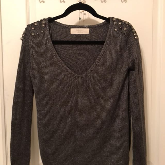Zara Grey Embellished Sweater