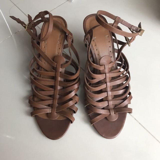 Zara Strappy Sandals Brown size 40