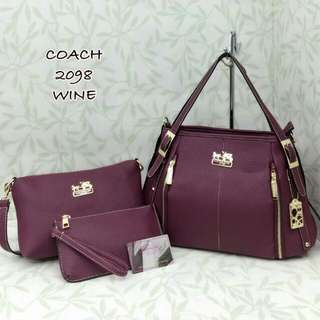 Coach Satchel Tote 3 in 1 Bag Wine Color