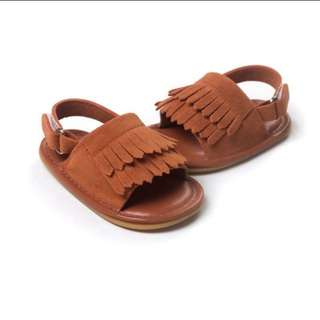 Baby Tassel Crib Shoes - Dark.Brown