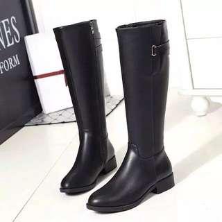 懶人必選冬季英倫風粗跟平底高筒靴
