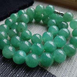 翡翠A貨有種有色滿色甜陽綠圓珠手鍊項鍊特惠包郵順豐,配送證書,直徑: 9.8毫米,編號0228