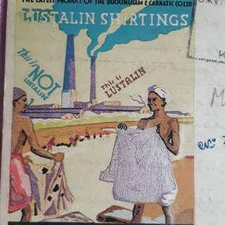 British INDIA - 1940 - Postal History Cover  Vintage  ' LUSTALIN SHIRTINGS ' Advertiesement - ia21