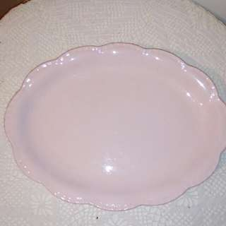 """Vintage pink plate, (12""""x 9"""")"""