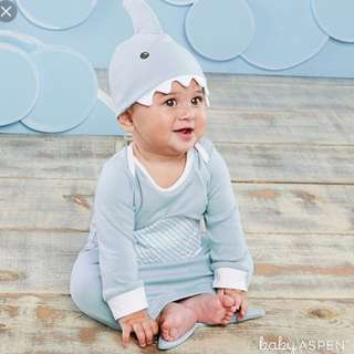 Baby Aspen's Shark Gown and Cap 2 Piece Gift Set