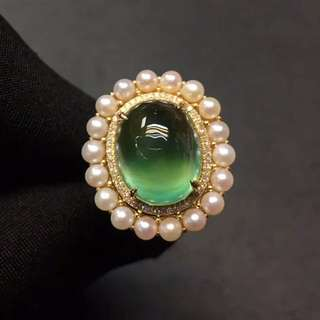Sold-同款可訂造。can order same style .18K金葡萄石戒指,周邊點綴天然珍珠